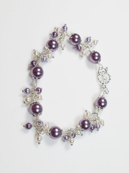 Lavender and White Faux Pearl Sterling Silver Bracelet - Lady Likes Jewelry - 2