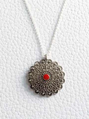 Red Enamel Silver Boho Necklace - Lady Likes Jewelry