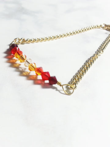 Crystal Bar Bracelet in Red Gradient