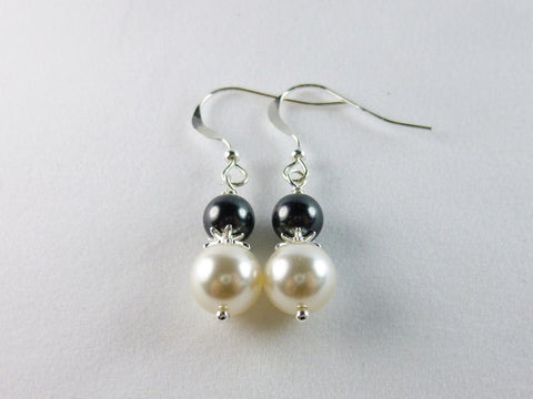 White and Dark Gray Faux Pearl Drop Earrings, Sterling Silver Earrings - Lady Likes Jewelry - 1