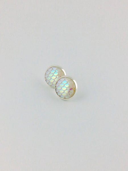 White Mermaid Scales Stud Earrings