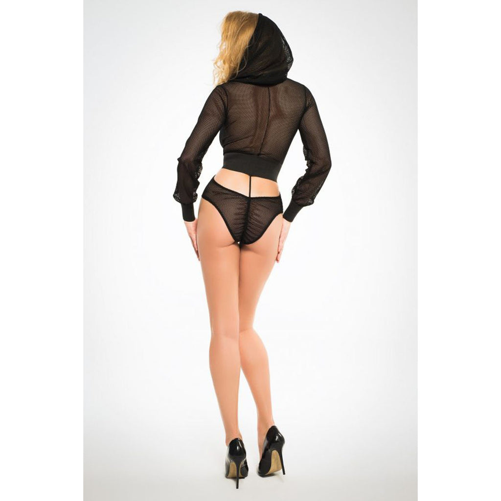 Chloe Sweet and Delicious Fishnet Body With Hoodie and Cut Out Back - Black - Medium