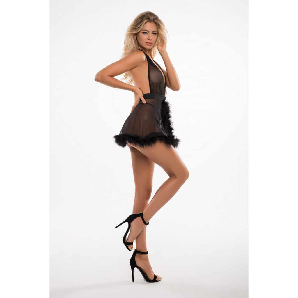 Candy Sweet Babydoll and G-String - Black - L-xl