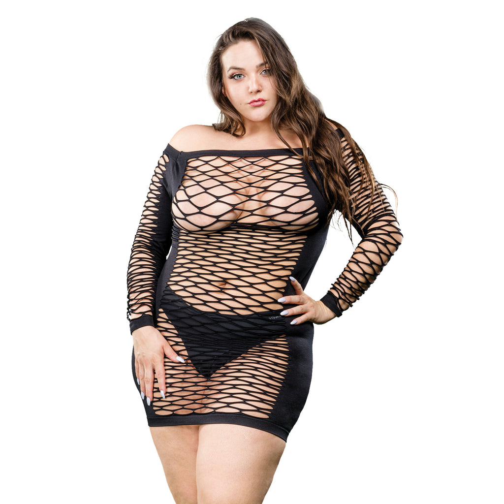 Ladies Long Sleeve Mesh Dress - Black - 1x-4x