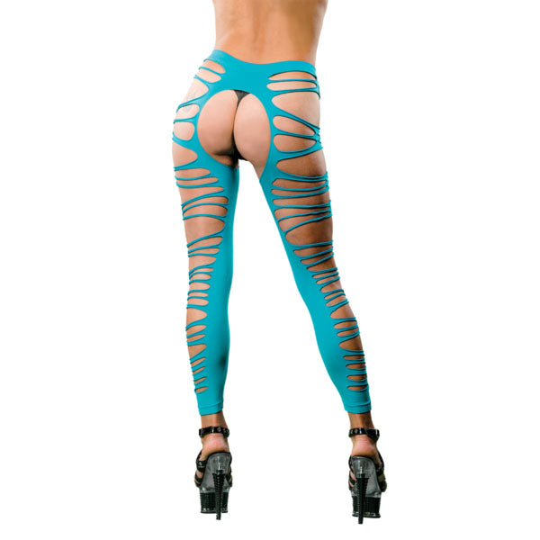 Side Straps Crotchless Leggings - One Size - Turquoise