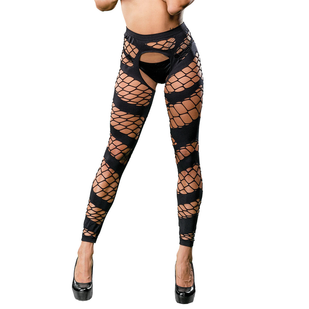 Wild Design Mesh Crotchless Leggings - One Size - Black