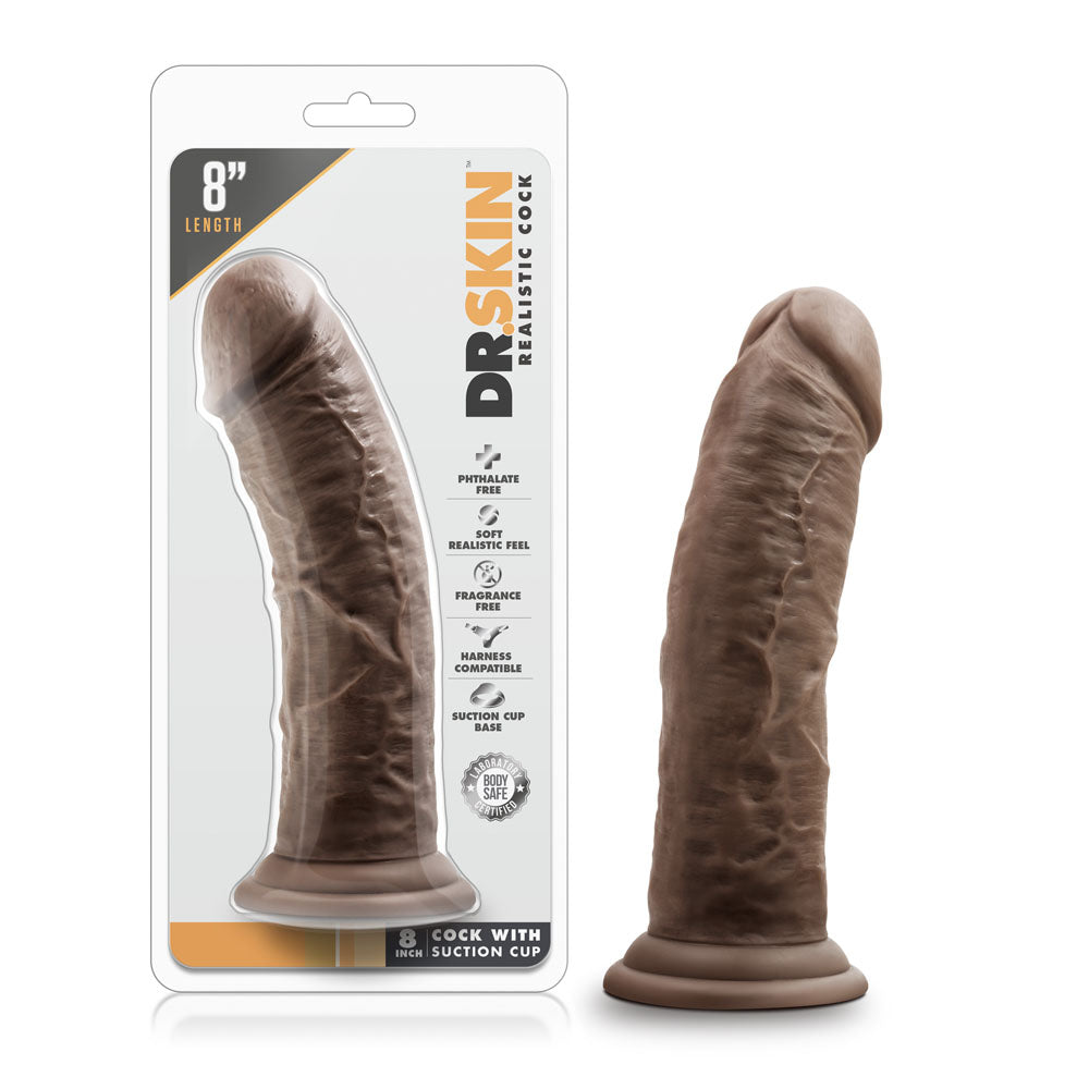 Dr. Skin - 8 Inch Cock With Suction Cup -  Chocolate