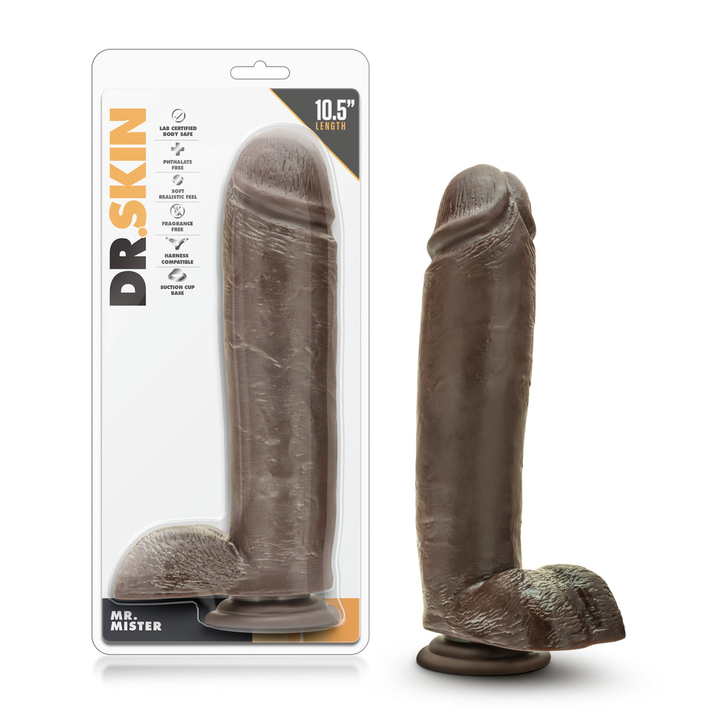 "Dr. Skin - Mr. Mister 10.5"" Dildo With Suction Cup  - Chocolate"