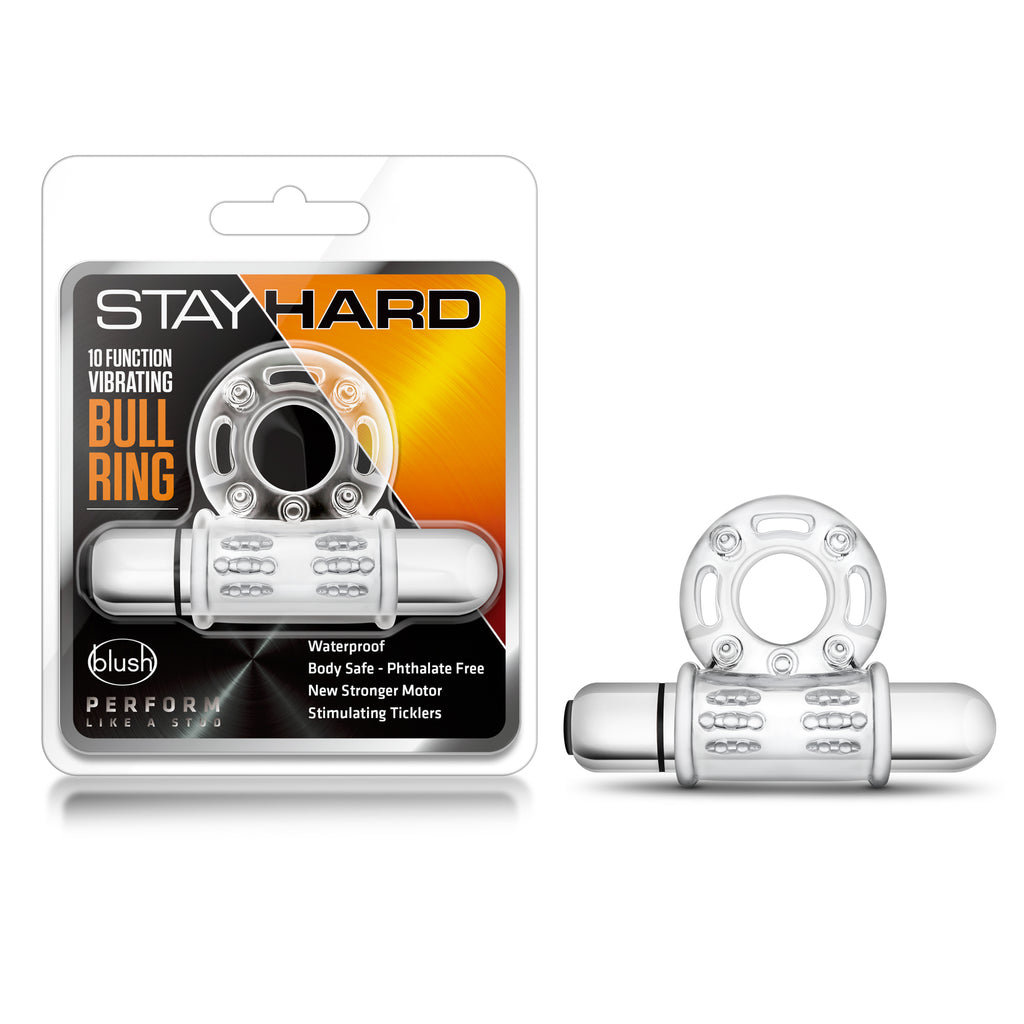 Stay Hard 10 Function Vibrating Bull Ring - Clear
