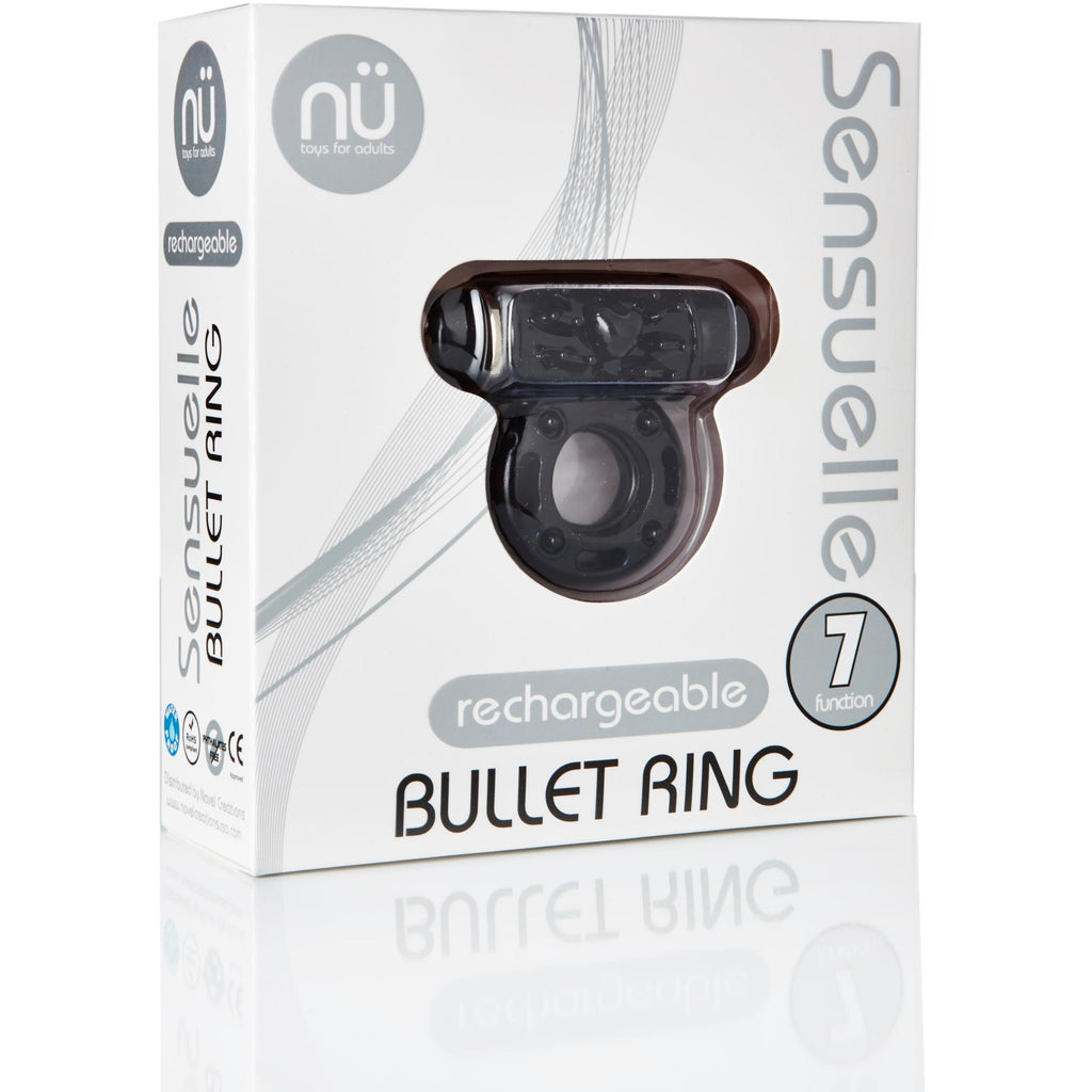 Sensuelle 7 Function Rechargeable Bullet Ring -  Black