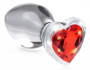 Red Heart Gem Glass Anal Plug - Medium