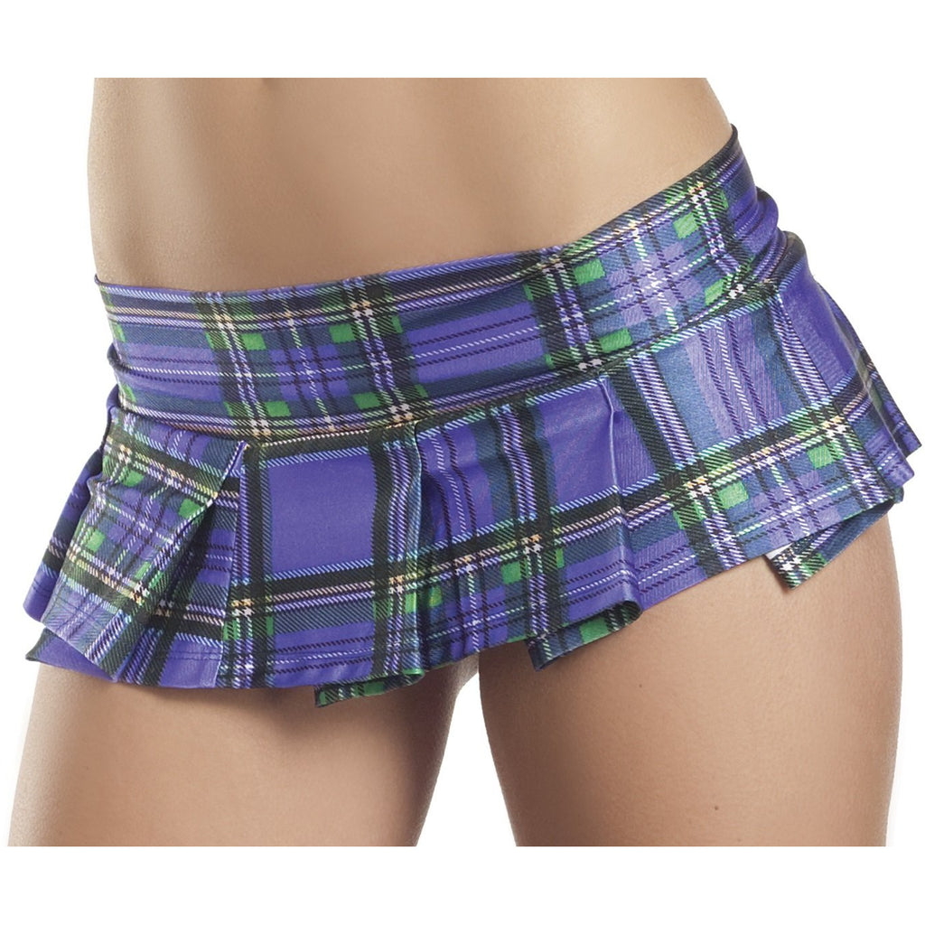 Plum Plaid Pleated Mini Skirt - Medium- Large