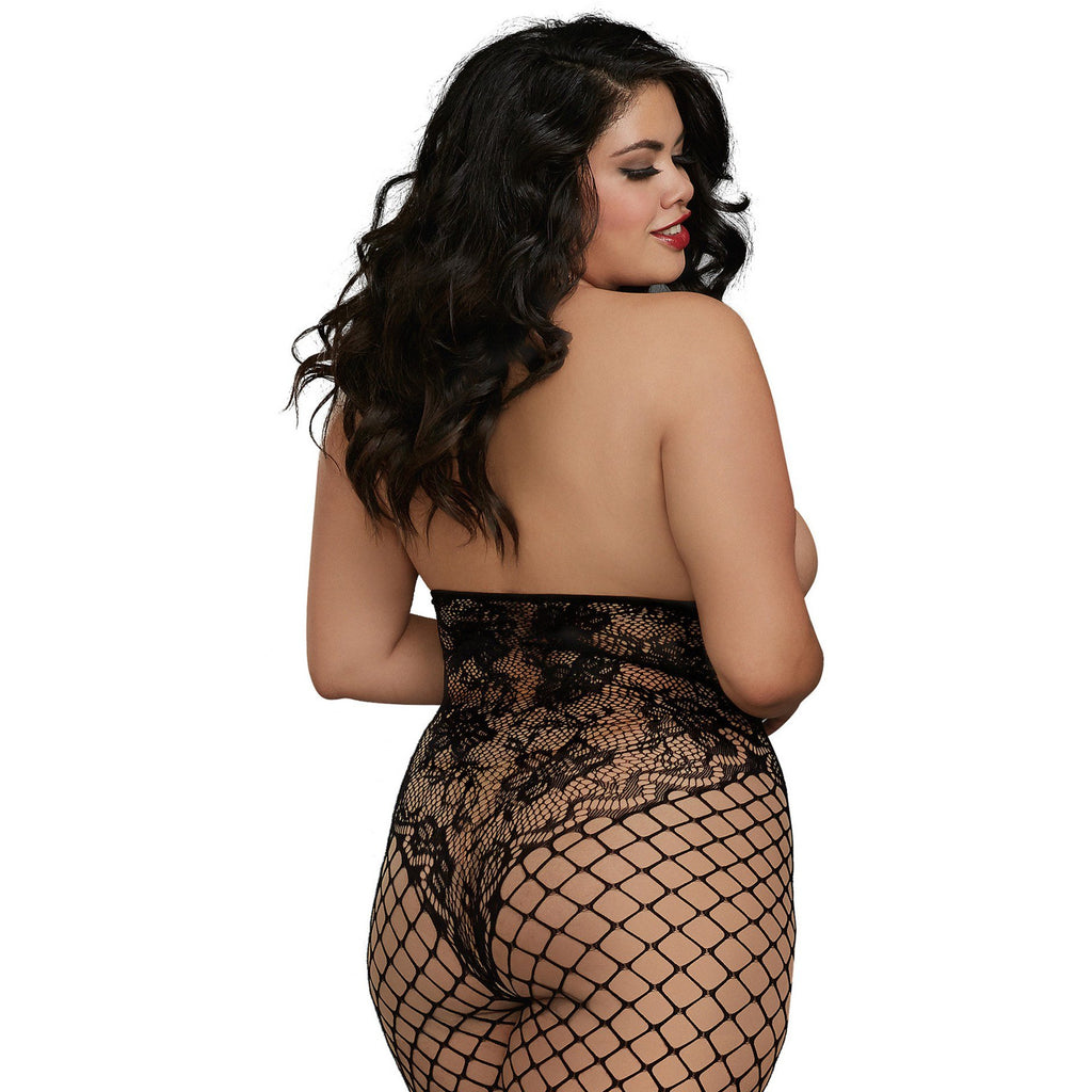 Open Cup Bodystocking - Queen Size - Black