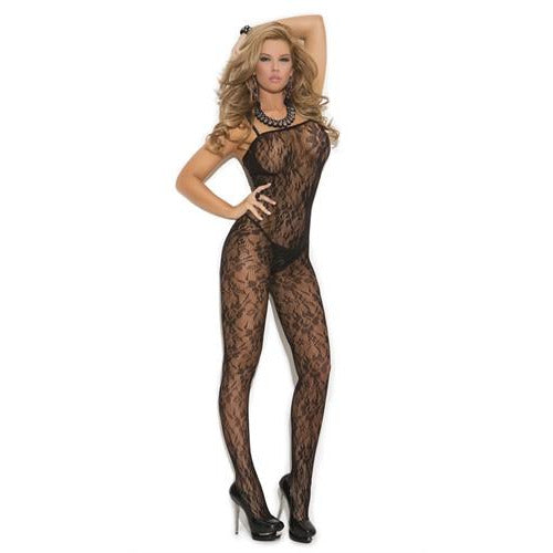 Rose Lace Body Stocking - One Size - Black