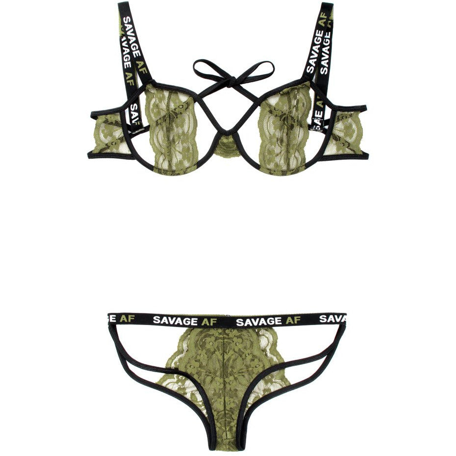 Savage Af Cutout Bra and Caged Panty - Olive - M-l