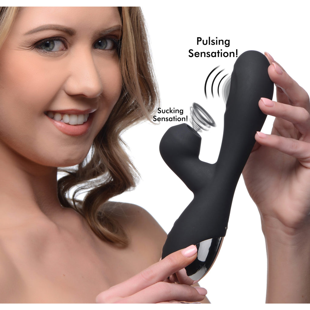 Shegasm 5 Star 10x Silicone Suction & Pulsing Rabbit - Black