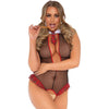 School Girl Crotchless Fishnet Teddy - Black -  1x- 2x