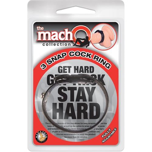 The Macho Collection 3-Snap Cock Ring - Black