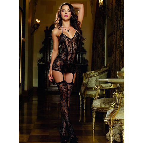 Dreamgirl Lace Fishnet Dress with Opaque Bodice Lines