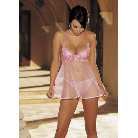 Scalloped & Sheer Net Babydoll
