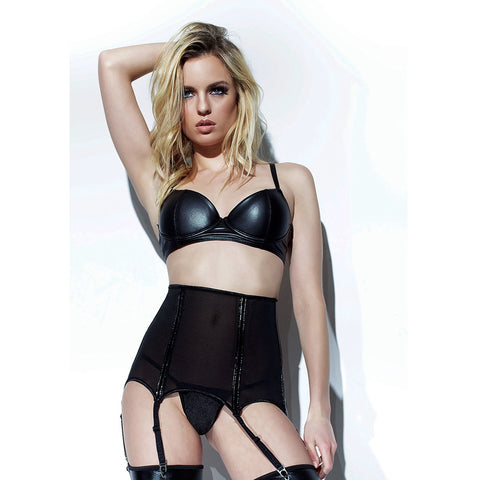 Darque High Waist Powernet Garter Belt