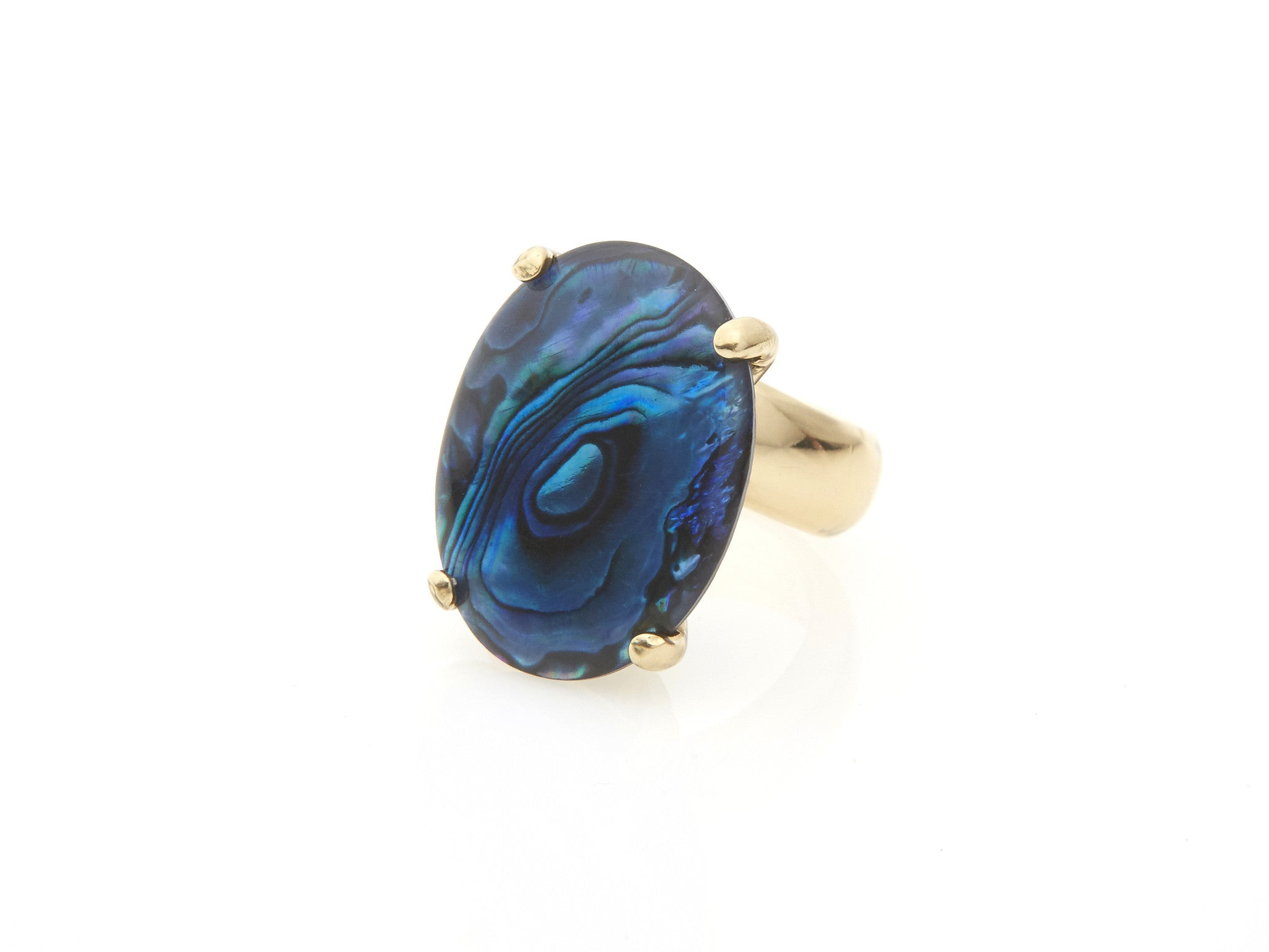 Blue Abalone Prong Set Ring