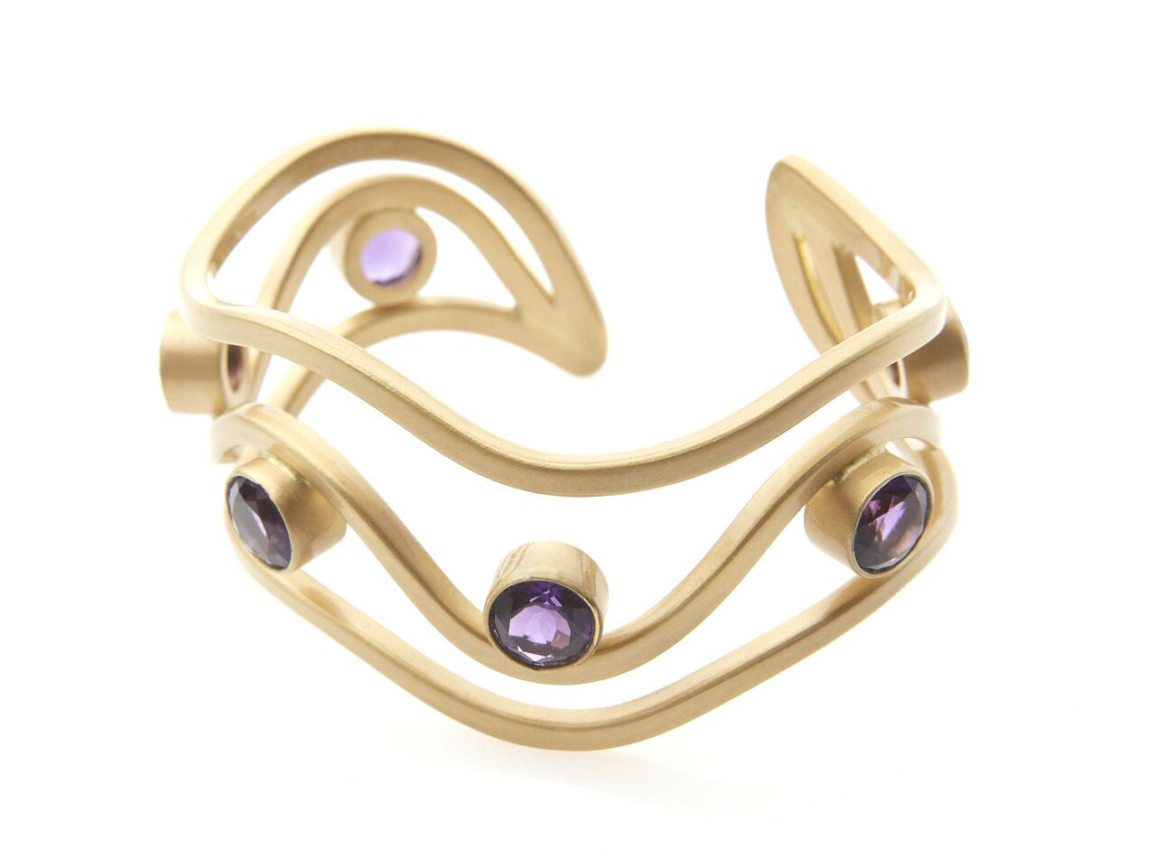 Brazilian Amethyst Three Waves Cuff