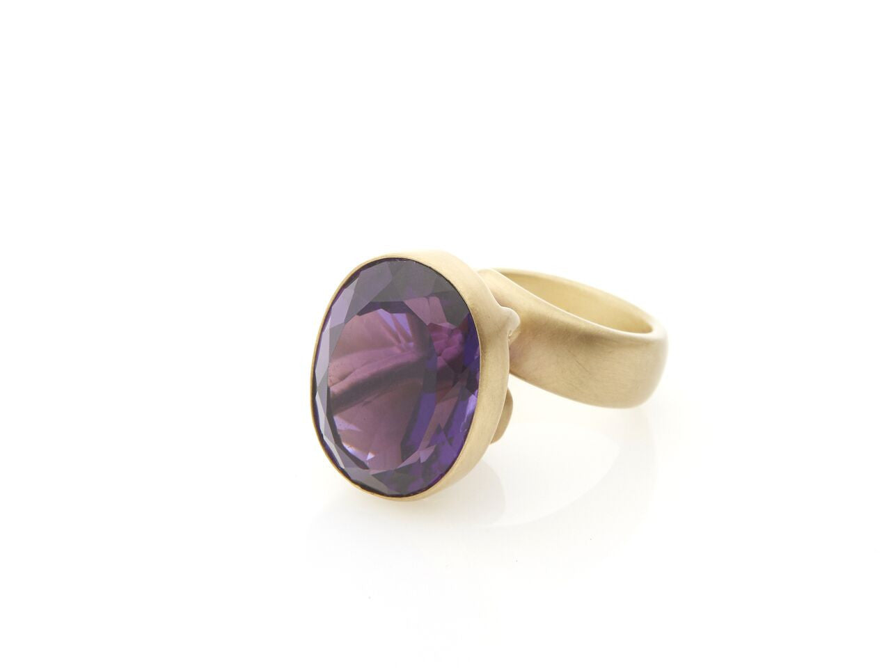 Brazilian Amethyst  framed Prong Set Ring