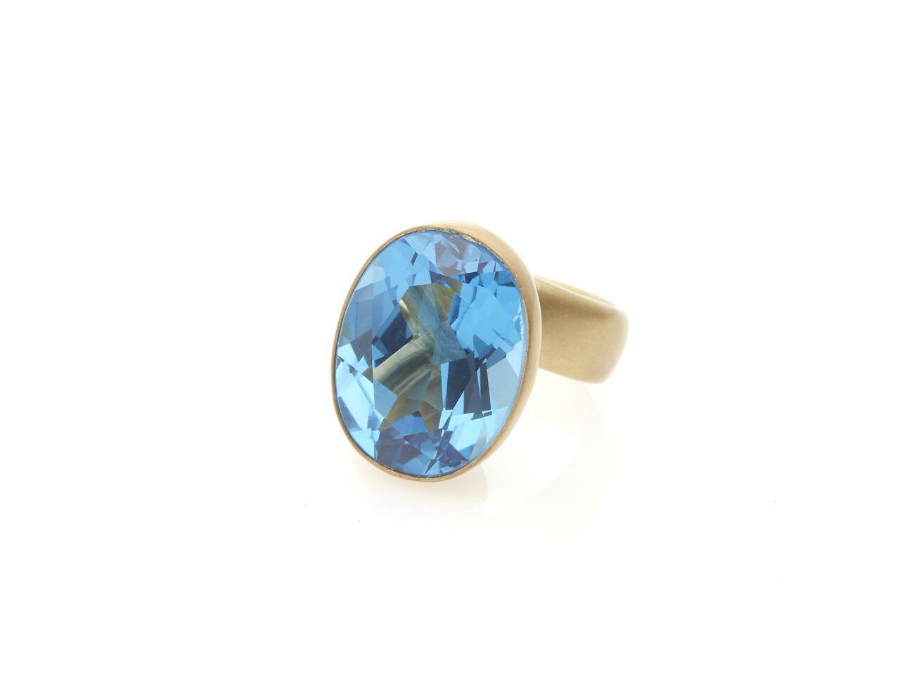 London Blue Topaz framed Prong Set Ring
