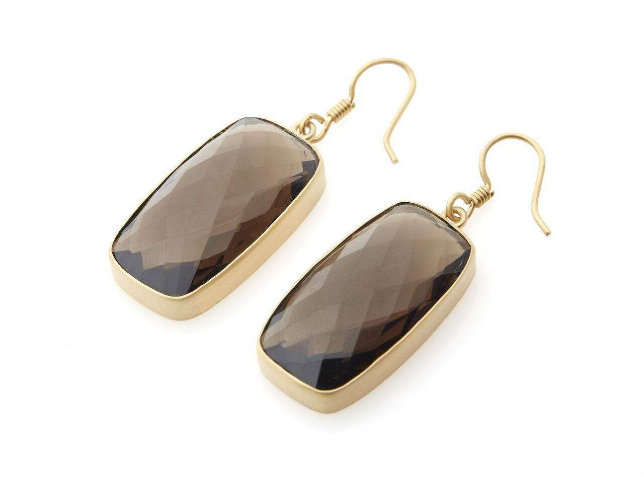 Rectangular Italian Smokey Quartz Earrings