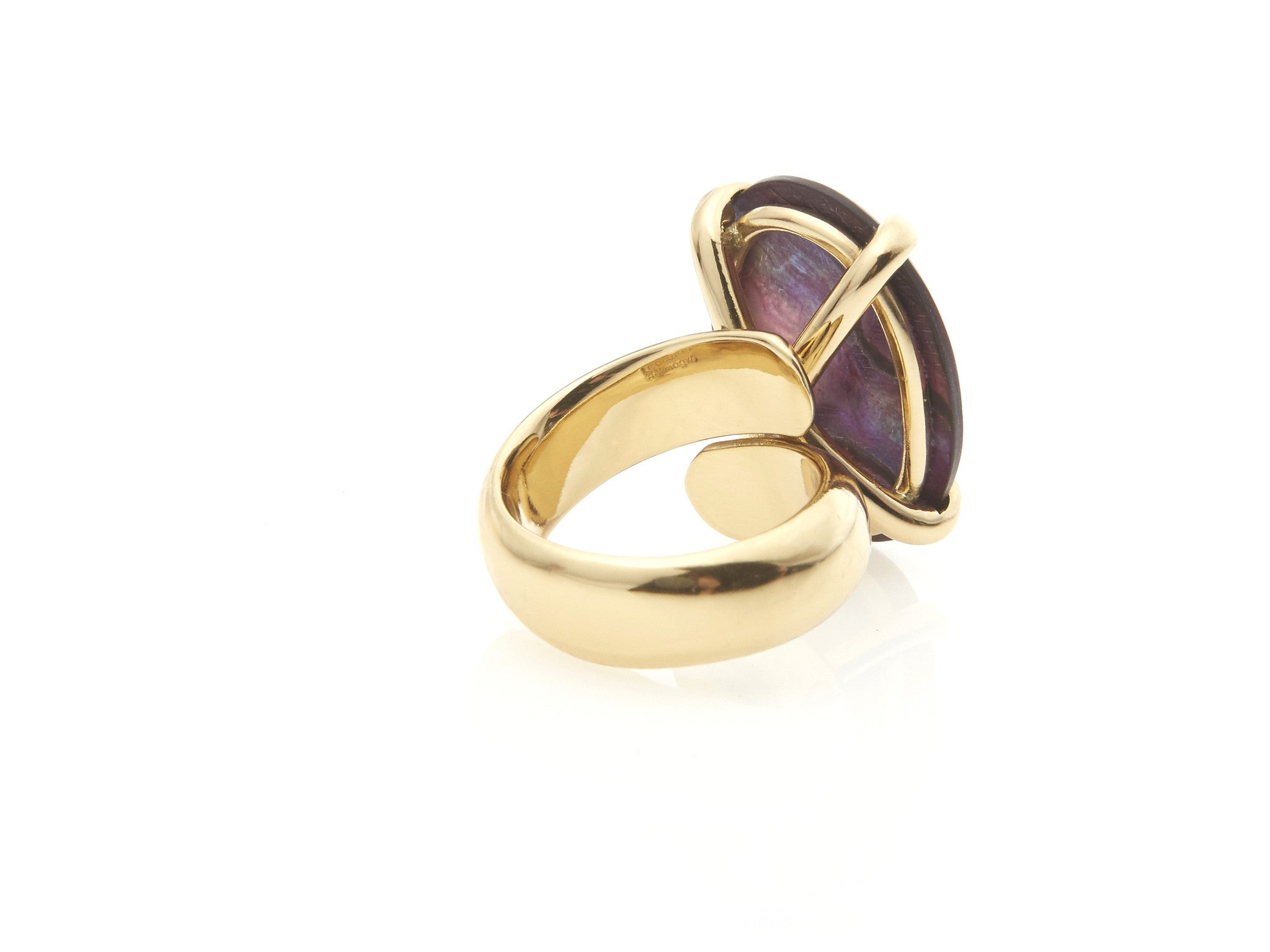 Red Abalone Prong Set Ring