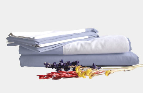 100% cotton eventide sheet sets with white band