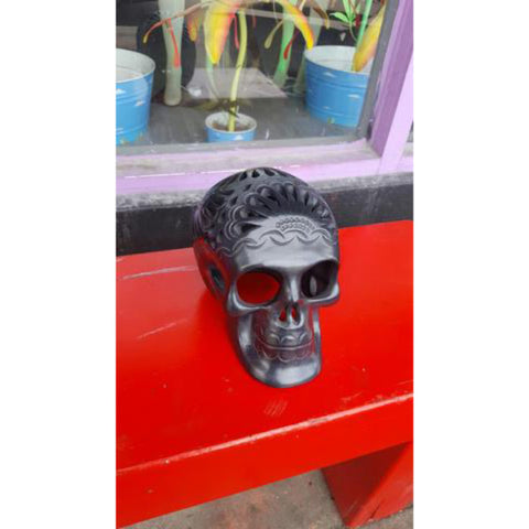 Authentic Mexican Day of the Dead Black Clay Skull