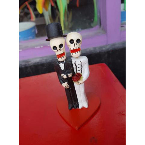 "Artisanal Mexican Day of the Dead ""Groom and Groom"" Clay Figurines"