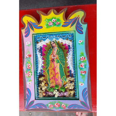 Artisanal Mexican Virgin Mary Shadow Box