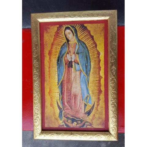 Artisanal Mexican Virgin Mary Wooden Block
