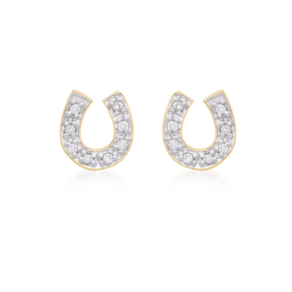 9ct Yellow Gold Earring, 9ct cz horseshoe stud earring, width: 7mm height: 7mm fitting: post fitting 312 - Armin Lowe Jewellers