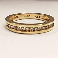 9ct Yellow Gold Ring, 9ct yellow gold band ,channel set with 16 diamonds, total carat weight 0.33 carat, band with 3.50mm 31559 - Armin Lowe Jewellers