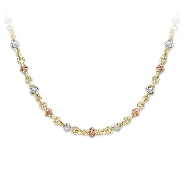 "9ct Yellow Gold Chain, 9ct three colour gold chain, 17""/43cm 32172"