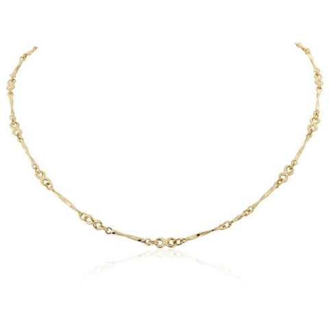 "9ct yellow gold fancy link chain made up of infinity knots and twist bars, 17""/43cm 32177"