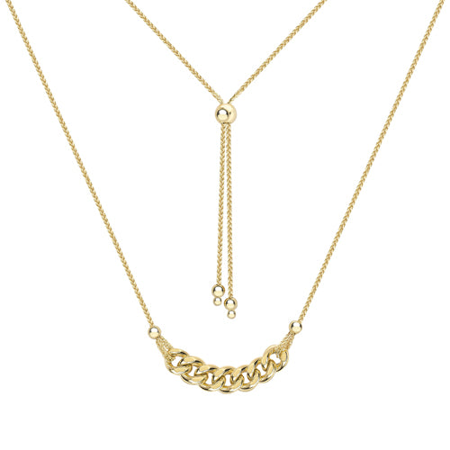 9ct Yellow Gold Pendant, 9ct gold foxtail chain with curb link pendant bar, continually adjustable, 6.7 gram approx 32878
