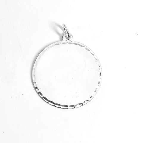Sterling silver 24mm round polished disc with diamond cut faceted edge. 34221