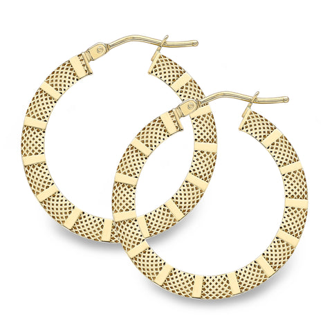 25mm 9ct gold flat patterned hoops 33722