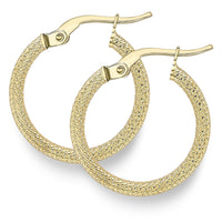 9ct Yellow Gold Earring, 9ct gold textured 18mm hoop earrings 33717 - Armin Lowe Jewellers Sligo