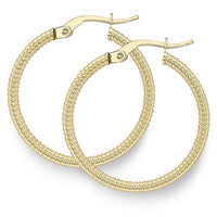 9ct Yellow Gold Earring, 9ct gold 28mm textured hoop earrings 33721 - Armin Lowe Jewellers Sligo