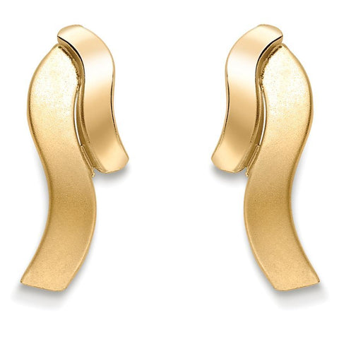 9ct Yellow Gold Earring, 9ct gold texture finish stud earrings 32189 - Armin Lowe Jewellers Sligo