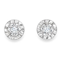 9ct White Gold CZ Ladys Earring 33710