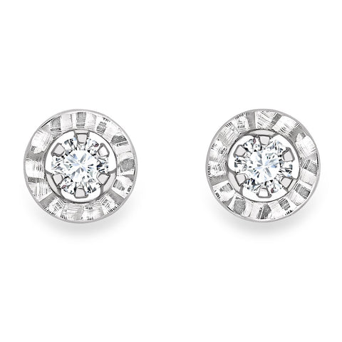 9ct White Gold CZ Ladys Earring 33723 - Armin Lowe Jewellers Sligo
