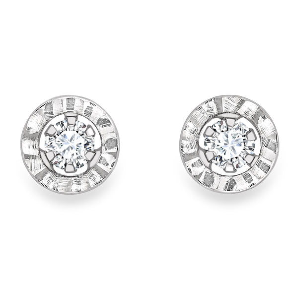 9CT WHITE GOLD CZ LADYS EARRING 33723