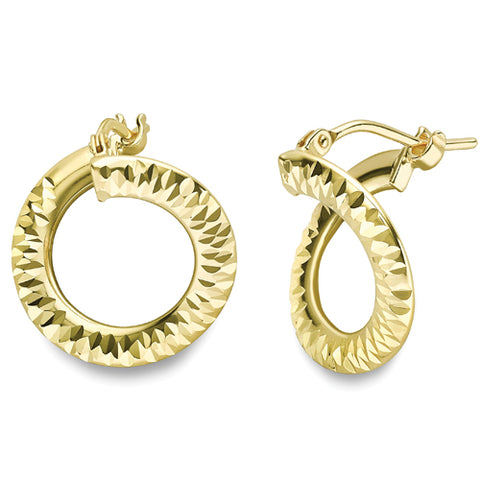 9ct gold polished / diamond cut corkscrew Creole hoop 16mm reversible earrings 32885